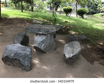 Set Marble chair for relax in park outdoor public nature background on floor ground gray or black color chill on holiday good time