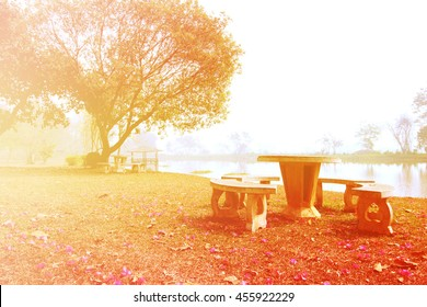 set of marble table in the public park with color filter