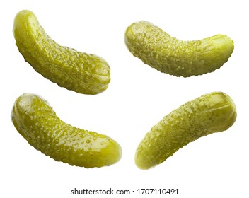 Set of marinated pickled cucumbers, isolated on white background