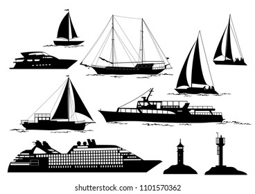 Set of Marine Vehicles and Objects on Sea and Ocean, Ship, Sailboat, Yacht, Lighthouses, Black Silhouettes Isolated on White Background.