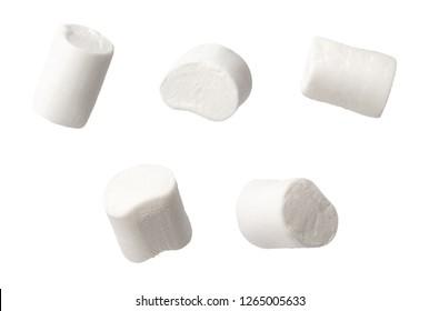 set of marshmallows isolated on white background