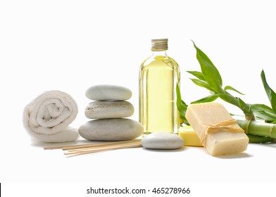 Set of massage oil and stones, soap, bamboo ,towel