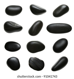 Set of massage pebbles isolated on white background
