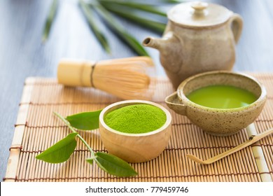 Set of matcha powder bowl wooden spoon and whisk green tea leaf Organic Green Matcha Tea ceremony.