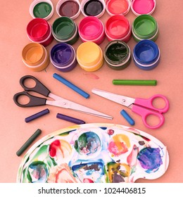 A set of materials for creativity and drawing Hobbies. Classes for creativity with children. Flat lay top view