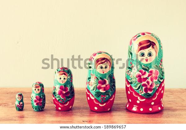 set of matrioshka dolls. retro filter