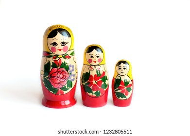 set of matryoshka of 3 pieces on a white background