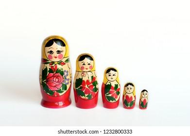set of matryoshka of 5 pieces on a white background