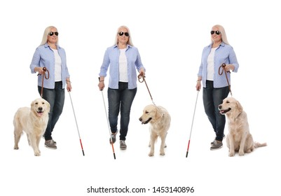 Set of mature blind woman with long cane and dog on white background