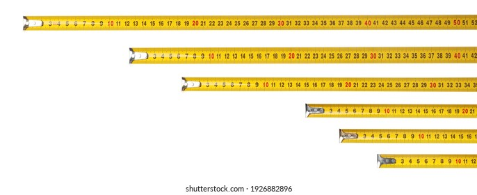Set with measuring tapes on white background, banner design