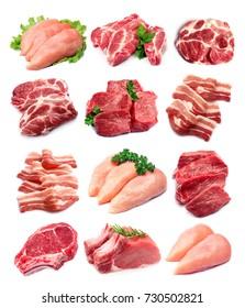 Set Fleisch, Nahaufnahme auf weißem Hintergrund.
