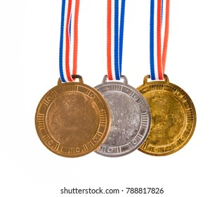 set of medals awarded isolated on white background.