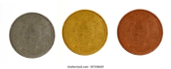 set of medals: gold, silver, bronze