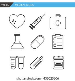 Set of medical icons executed in a linear flat style.