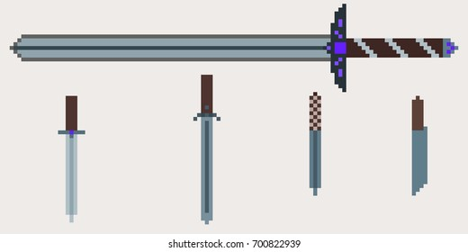 A set of medieval weapons - a two-handed sword and several daggers and knives. Pixel illustration for computer and console games
