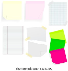 Set of Memo Sticks and School Papers