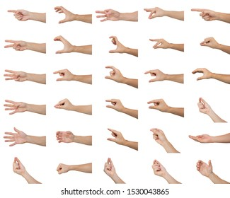 Set of men make various hand gestures isolated on white background.