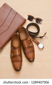 Set of men's accessories. Top view. Classical fashion style