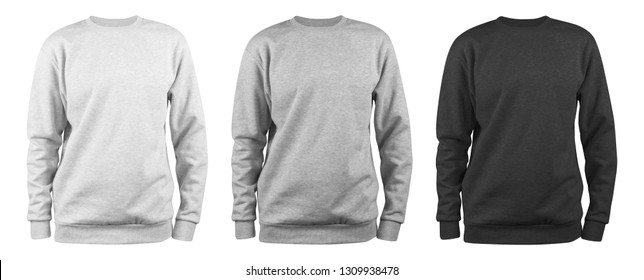 set of men's blank sweatshirt template - white, grey, black, natural shape on invisible mannequin, for your design mockup for print, isolated on white background.