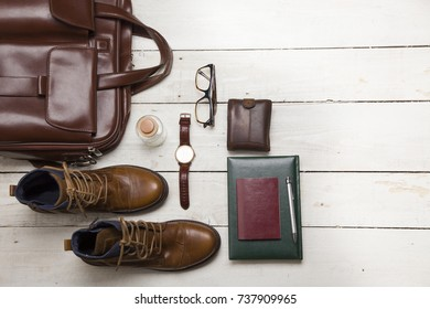 Set of men's clothing and accessories. Hipster concept.