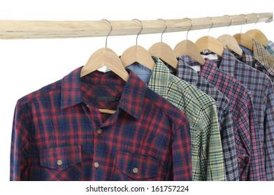 Set of men's different colors sleeved plaid cotton on wooden hanger