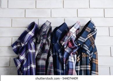 Set of Men's different sleeved plaid cotton
