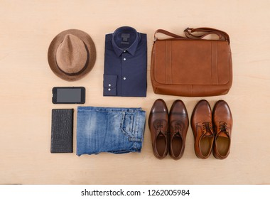 set of Men's fashionable clothes and accessories