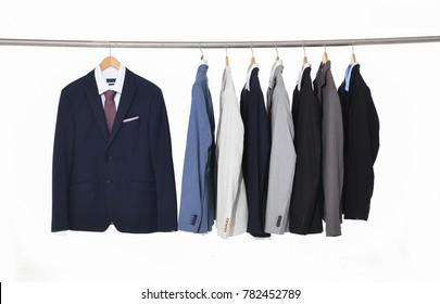 Set of men's suits ,shirt ,tie on hanger