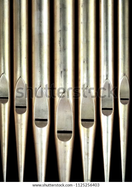 set of metal organ pipes