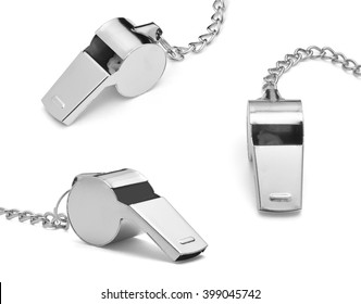Set of metal whistle isolated on white