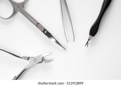 set of metallic manicure tools macro