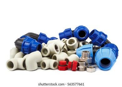 Set of metal-plastic plumbing couplings, adapters, plugs isolated on white background.