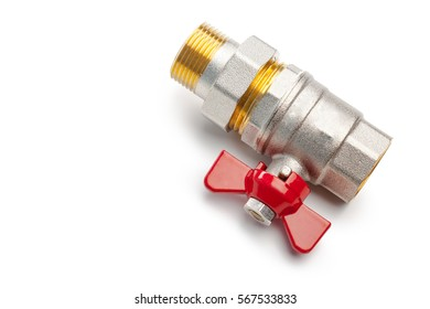 Set of metal-plastic plumbing couplings, adapters, plugs isolated on white background