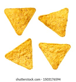 Set of mexican nachos chips, isolated on white background