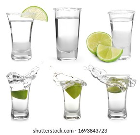Set of Mexican Tequila shots on white background