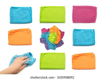 Set of Microfiber Cleaning Cloth Isolated on White Background Top View Closeup