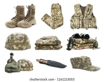 Set with military uniform and weapon on white background