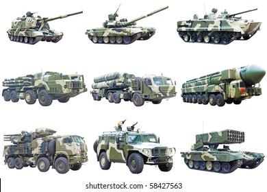 Set of military vehicles