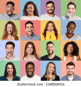 Set of millennials emotional portraits. Young diverse people grimacing and gesturing at colorful studio backgrounds