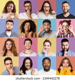 Set of millennials emotional portraits. Young diverse people grimacing and gesturing at colorful backgrounds