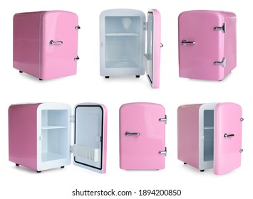 Set with mini refrigerators for cosmetics on white background
