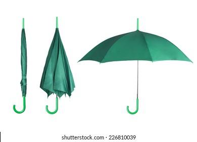 Set of mint umbrellas isolated on white background