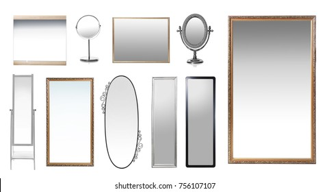 Set of mirrors on white background