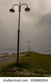 A set of misty lampost in Vigo - Galicia, Spain