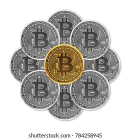 Set of mixed gold and silver crypto currency coins with bitcoin symbol on obverse isolated on white background. illustration. Use for logos, print products, page and web decor or other design.