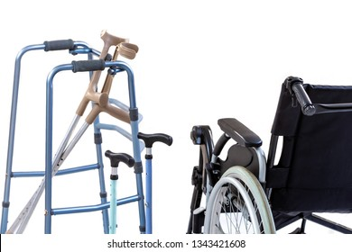 set of mobility aids including a wheelchair, walker, crutches, quad cane, and crutches.