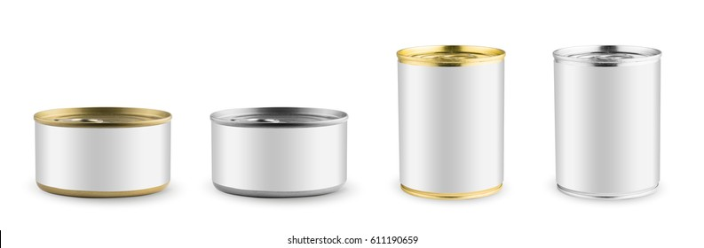 Set of mockups isolated. White blank tincan silver and gold metal Tin Can, canned Food. Ready for your design. Real product packing.