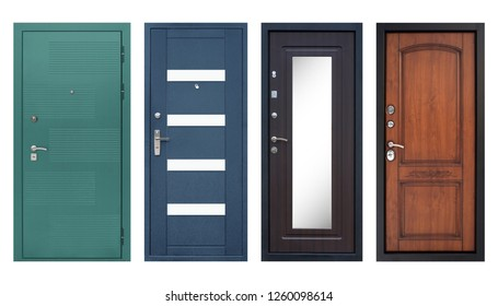 Set of models of entrance metal doors (isolated)