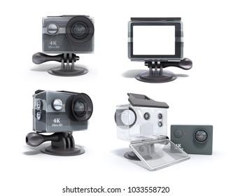 set of modern Camera Action Cam 3d render on a white background