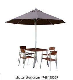 Set of modern chair and table with outdoor patio umbrella, wood and chrome or steel material, isolate on white background with clipping path